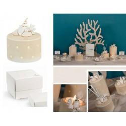 Lampada ceramica luce LED con decoro conchiglie, completo di pvc portaconfetti e scatola. Diam. 9 H 11