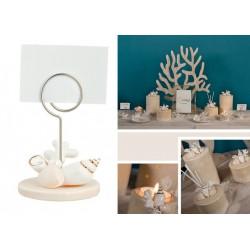 Memo clip ceramica con decoro conchiglie. H 8