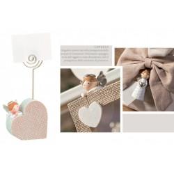 Memo clip forma cuore in resina con angelo. CM 10
