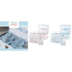 Set 9 valigette metallo con Dumbo rosa o azzurre. Grande:CM 20x16 H 8 Piccola:CM 8x7 H 4