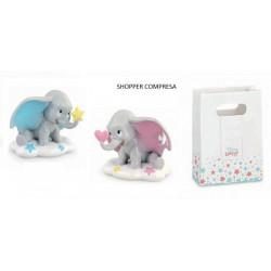 Dumbo in resina da appoggio, completo di shopper. H 7,5