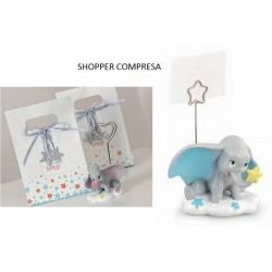 Dumbo in resina con memo clip, completo di shopper. CM 5