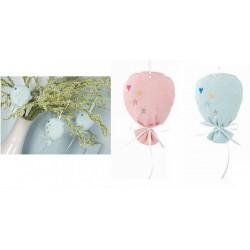 Sacchetto tessuto forma palloncino, rosa o azzurro. CM 10x13.5