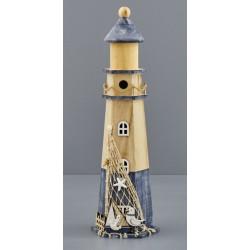 Faro legno naturale, con decorazioni marinare. CM 16x14 H 52