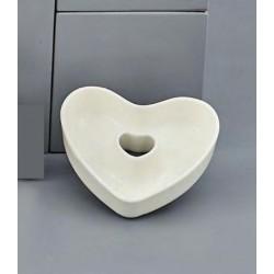 Ciotola porcellana bianca forma cuore. H 10