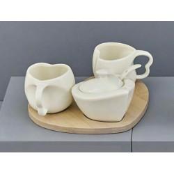 Set 2 tazzine e zuccheriera in ceramica con base legno. CM 25x25