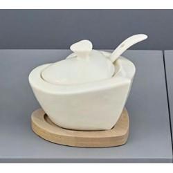 Zuccheriera ceramica bianca con base legno.