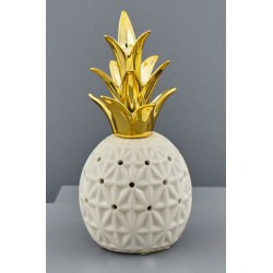 Ananas ceramica bianca con ciuffo gold e luce LED. CM 10.5x10.5 H 21