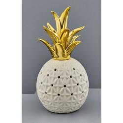 Ananas ceramica bianca con ciuffo gold e luce LED. CM 8x8 H 17
