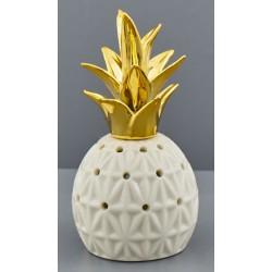 Ananas ceramica bianca con ciuffo gold e luce LED. CM 6.5x6.5 H 13