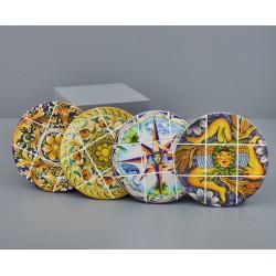 Sottopentola tondo ceramica con decoro maioliche sicilia. Ass 4. Diam. 20