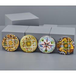 Sottopentola tondo ceramica con decoro maioliche sicilia. Ass 4. Diam. 11
