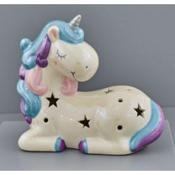 Unicorno in resina, colore perlescente. CM 16x9 H 14