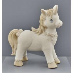 Unicorno ceramica tortora e avorio. CM 12x5.6 H 18