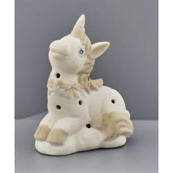 Unicorno ceramica tortora e avorio con luce LED. CM 9.5x7 H 11.5