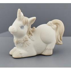 Unicorno ceramica tortora e avorio. CM 7x3 H 6