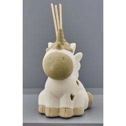 Profumatore ceramica unicorno con luce LED e scatola. CM 10x8 H 12