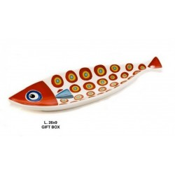 Vassoio ceramica forma pesce con scatola. CM 26