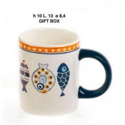 Tazza mug ceramica con decoro pesci, con scatola. CM 10