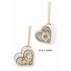 Profumatore resina forma cuore con immagine sacra. CM 7
