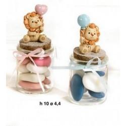 Barattolino vetro con leone resina, rosa o azzurro. H 10