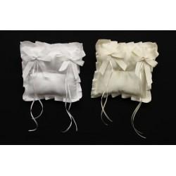 Cuscino portafedi tessuto, con gros grain e fiocchi applicati. CM 17x17 MADE IN ITALY
