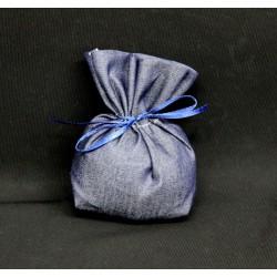 Sacchetto tessuto color jeans con base. CM 8x11 MADE IN ITALY