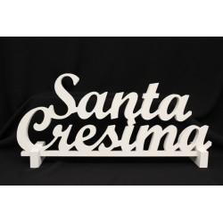 """Scritta legno bianca da appoggio """"Santa cresima"""". CM 70 H.30"""