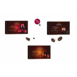 Confetti al cioccolato extra fondente (70% cacao) ripieni di liquore. GR 500