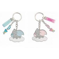 Portachiavi metallo smaltato con Dumbo, rosa o azzurro. CM 5