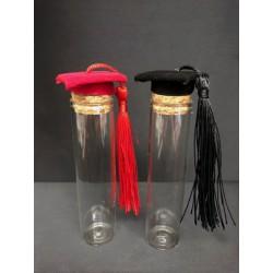 Provetta vetro con tappo sughero e tocco laurea in vellutino. H 10