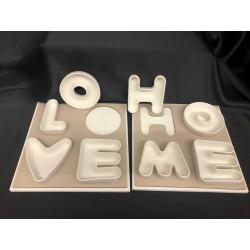 """Vassoio legno con ciotole porcellana """"Love"""" e """"Home"""". CM 24x24"""