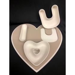 """Vassoio legno con ciotole porcellana """"I ♥ U"""". CM 25"""