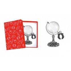 Globo vetro con base ottone bagno argento con ciondolo corona alloro e scatola. MADE IN ITALY
