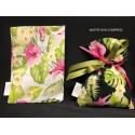 Sacchetto tessuto con stampa foglie e fiori. CM 10x14 MADE IN ITALY