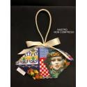 """Sacchetto tessuto stampa """"Sicilia"""" a forma di cestino con manico cordone lucido. CM 14 MADE IN ITALY"""