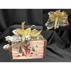 Cassetta ceramica completa di 25 cioccolatini incartati e confezione natalizia. CM 16x21