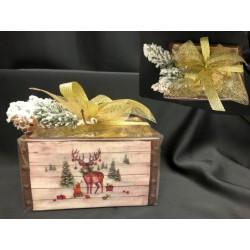 Cassetta ceramica completa di 20 gianduiotti incartati e confezione natalizia. CM 16x12