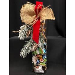 Barattolo vetro cilindro con tappo sughero, completo di 24 cioccolatini incartati e confezione natalizia. H 30
