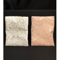 Sacchetto doppio tessuto, raso e pizzo. CM 10.5x13.5