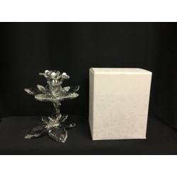 Alzata con tre fiori cristallo con scatola. H 13