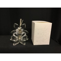Profumatore coppia cigni cristallo con placca 50° con scatola. H 10 MADE IN ITALY