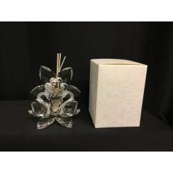 Profumatore coppia cigni cristallo con placca 50° con scatola. H 10