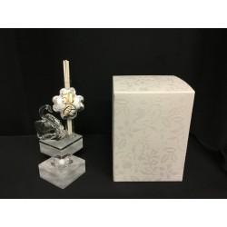 Profumatore cristallo con cigno e placca 50°e scatola. H 11