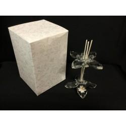 Profumatore fiore cristallo con placca 50°e scatola. H 9