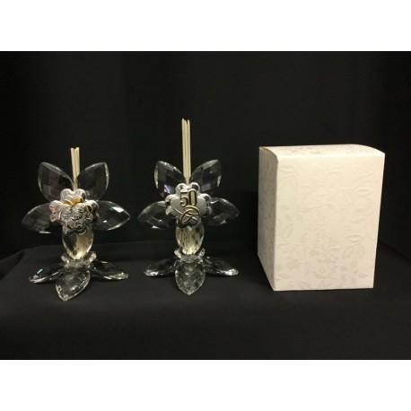 Profumatore cristallo con placca 50°e sacra famiglia con scatola.H 10 MADE IN ITALY