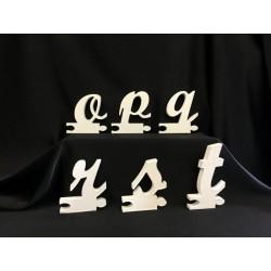 Lettere di legno in corsivo minuscolo. H 12x12