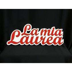 """Scritta legno colorata da appoggio """" La mia Laurea"""" CM 40x15"""