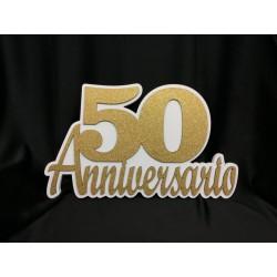"""Scritta legno colorata da appoggio """" 50 Anniversario"""" CM 60x35"""