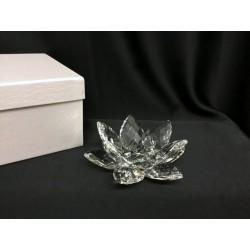 Base cristallo forma fiore  con scatola. Diam.12